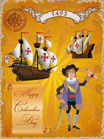 Sailing ship floating on the sea waves. Caravel Santa Maria. Happy Columbus Day Ilustración de vector