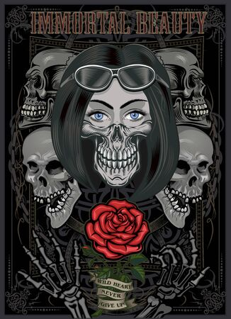 Black and white skull girl with rose