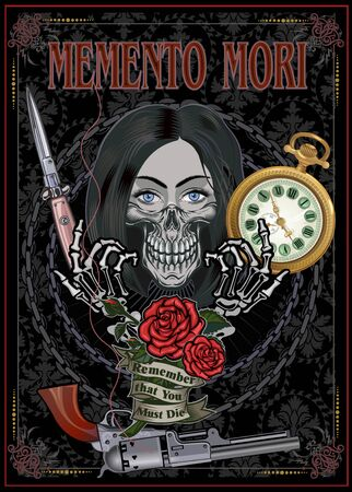 Memento mori - remember that you must die - Black and white skull girl with rose Illustration