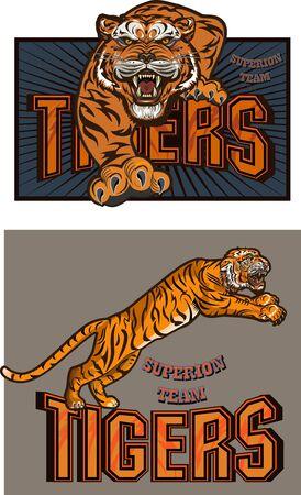 Wild cat head mascot, Tiger head emblem design for Sports team