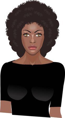Portrait of beautiful black woman isolated Vecteurs