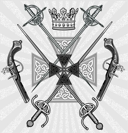 Crown and Musketeers weapons. rapiers and muskets