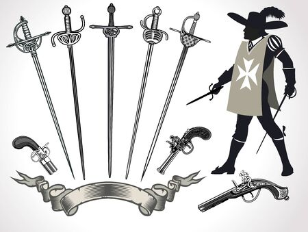 Musketeers  and their weapons. rapiers and muskets