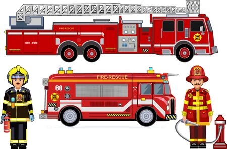 illustration of a firefighter car and firefighter