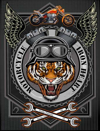 Vintage motorcycle label with Tiger Vector Illustration