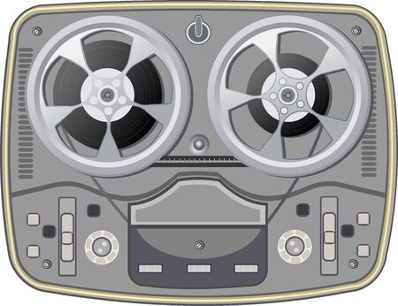 Vintage retro style reel to reel tape deck. Obsolete tape recorder with two bobbins on white background