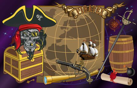 Jolly Roger Pirate skull and marine map Illustration