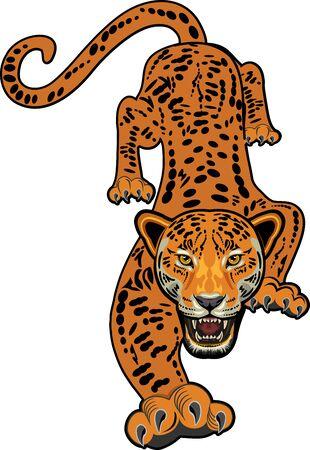 Tattoo of Jaguar. Angry face of Big cat