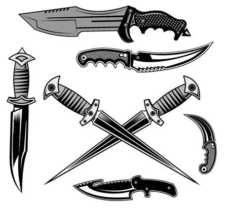 cuchillo daga y cuchillos tácticos Ilustración de vector