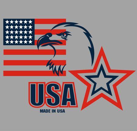 American Eagle Patriotic Logo. Eagle Head and Star Logo Çizim