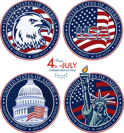 American Eagle Patriotic Logo. Eagle Head and Star Logo Statue of Liberty. New York and American symbol