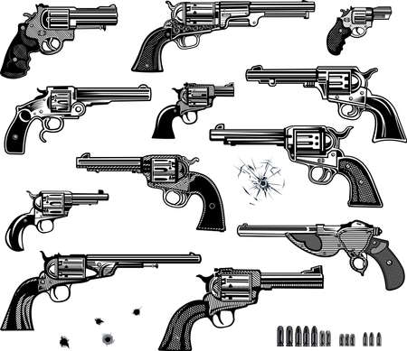 Guns: Revolver collection set of Bullet. Bullet Hole  イラスト・ベクター素材