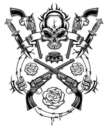 A human skull with guns and red roses