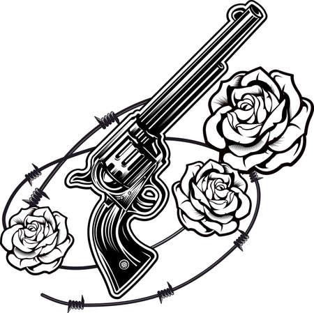 Roses and revolver. Roses in gun barrel