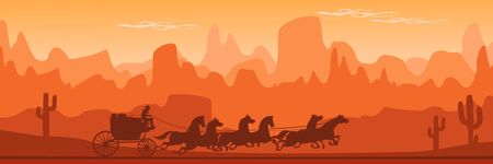Vintage Western Stagecoach. Old Wild West horse-drawn Carriage with the coach Illustration