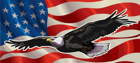 American Redoubtable  Eagle with USA flags