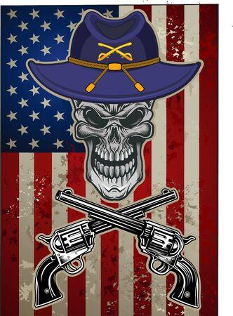 Skull with Guns and USA flag Vector Illustration
