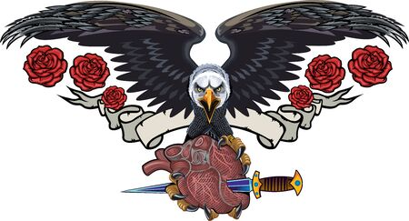 Eagle with heart and rose and ribbon