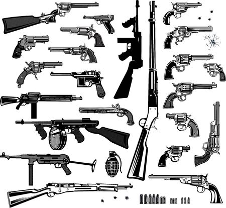 Guns: old and modern pistol, rifle, revolver