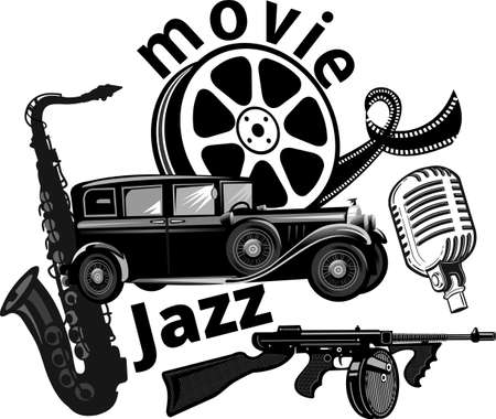 Crime movies poster. Gun and Black musical instruments saxophone  イラスト・ベクター素材