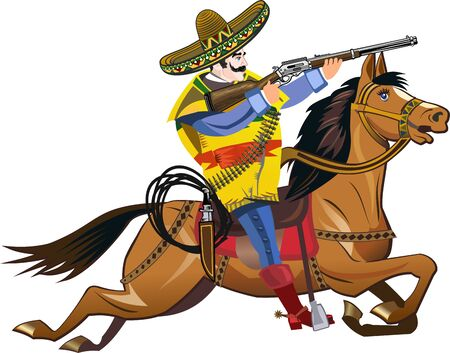 Mexican horse rider on the white background 向量圖像