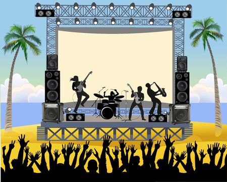Outdoor concert stage on the beach. Outdoor summer festival concert with pop music band playing music outdoor on stage