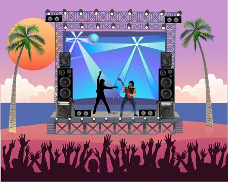Outdoor concert stage on the beach. Outdoor summer festival concert with pop music band playing music outdoor on stage  イラスト・ベクター素材