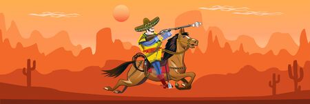 American wild west desert and Mexican horse rider 向量圖像
