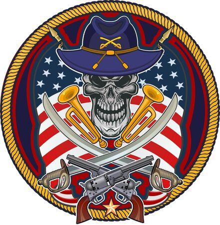 Skull with Guns and USA flag