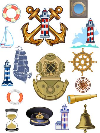 Marine navy and nautical adventure set. Sea lighthouse, ship anchor ocean waves and Retro Heavy diving helmet. Shipping sail, boat bell and lifebuoy  イラスト・ベクター素材