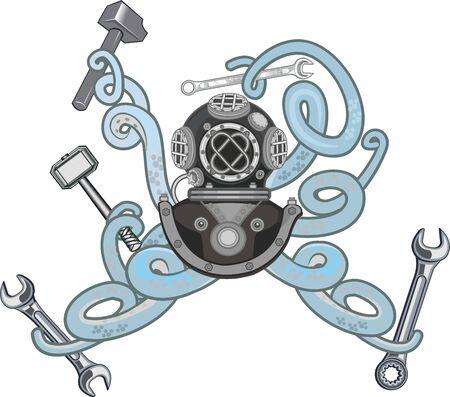 Diver helmet with octopus tentacles