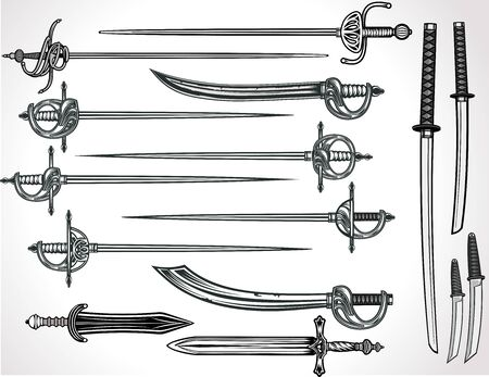 Knife, dagger, sword, katana and rapira
