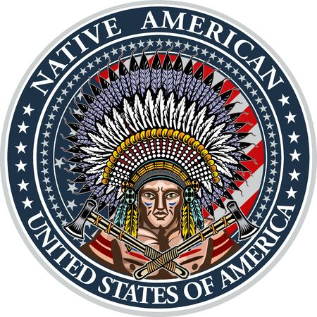 American indian head over USA flag