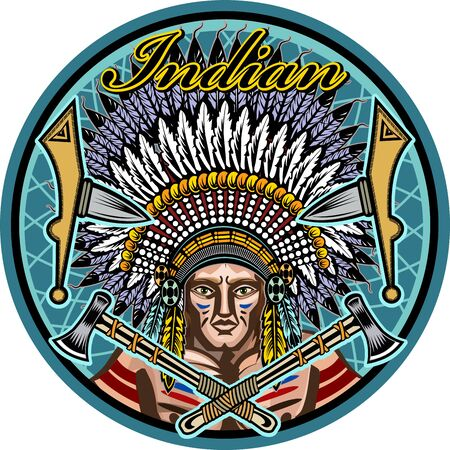 American indian head over white background  イラスト・ベクター素材