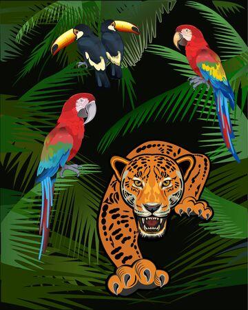 Adult Jaguar Sneaking in Tropical Leaves