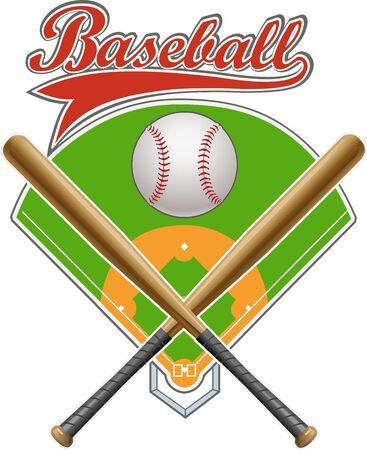 Baseball Game label. Modern professional baseball tournament logo with ball