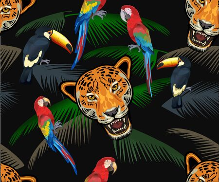 Adult Jaguar Sneaking in Tropical Leaves. Exotic seamless pattern on a dark background.  イラスト・ベクター素材