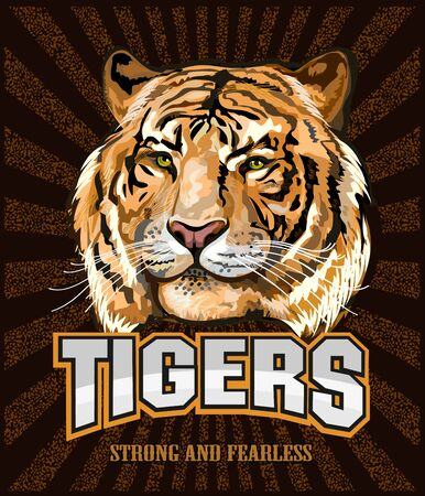 Portrait of a Tiger. Sport Team  イラスト・ベクター素材
