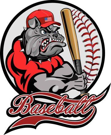 muscular bulldog holding a baseball bat  イラスト・ベクター素材
