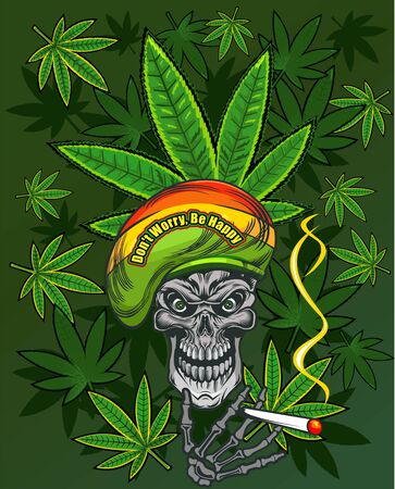 Rastaman skull with cannabis leafs and cigarette