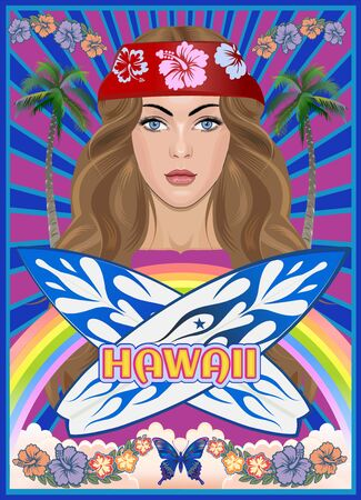 Surfer girl on Hawaii beach and surf board  イラスト・ベクター素材