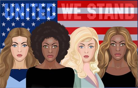 Americans Woman on USA Flag Background
