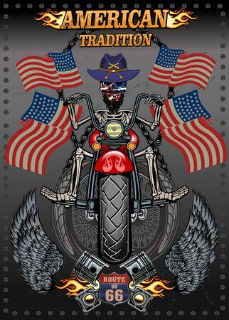 Vintage Biker Skull Emblem. Motorcycle club