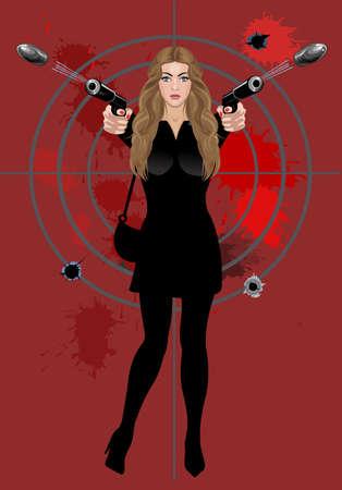 beautiful woman holding a pistol  イラスト・ベクター素材