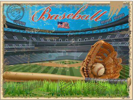 Baseball ball diamond with green grass and USA Flag