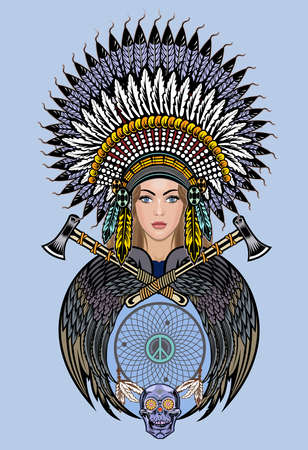 Drawing beautiful Native American women  イラスト・ベクター素材