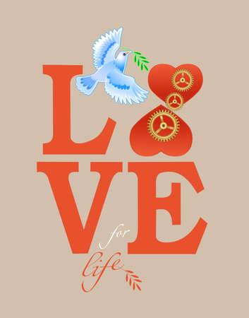 Dove Symbol of peace. Love to life  イラスト・ベクター素材