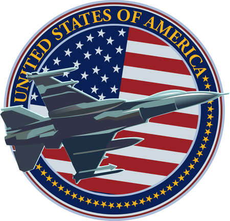 The symbol of the United States Air Force with the US flag  イラスト・ベクター素材
