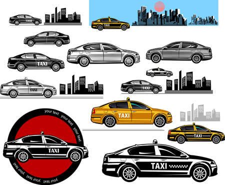 black and white taxi car and color illustration