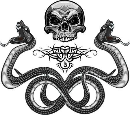 Viper snake. Colorful tattoo design Vettoriali